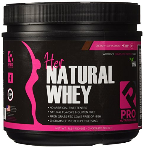 Protein Powder For Women - Her Natural Whey Protein Powder For Weight Loss & To Support Lean Muscle Mass - Low Carb - Gluten Free - rBGH Hormone Free - Naturally Sweetened with Stevia - Designed For Optimal Fat Loss (Chocolate Delight)- Net Wt. 1 LB by Pro Nutrition Labs (Image #1)
