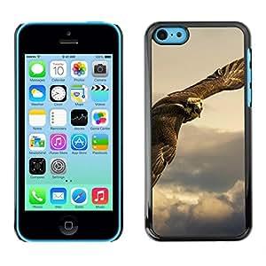 Caucho caso de Shell duro de la cubierta de accesorios de protección BY RAYDREAMMM - Apple iPhone 5C - Owl Hawk Predator Hunting Bird Prey