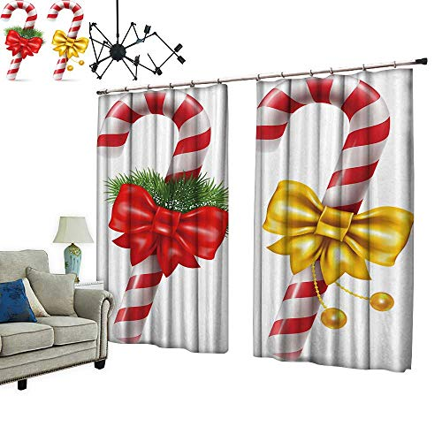 (PRUNUS Room Darkening Curtain with Hooked Candy Canes with Christmas Decoration,Winter Holidays Symbol Vector Isolated Thermal Insulated Blackout Window Curtain,W84.3 xL84.3)