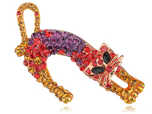 Rhinestone Kitty Cat Brooch Pin - 7
