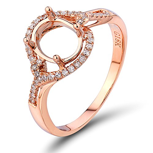 Lanmi Oval 6x8mm Semi Mount Engagement Natural Diamond Ring set 14K Rose Gold - Pave Semi Mount Ring