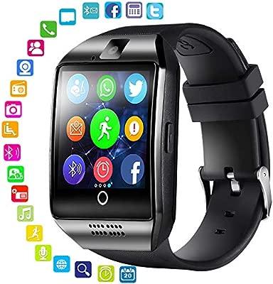 Reloj inteligente LayOPO con cámara, Q18 Bluetooth Smartwatch impermeable, Sport Smart Fitness Tracker, con ranura de tarjeta SIM, cámara, podómetro, ...