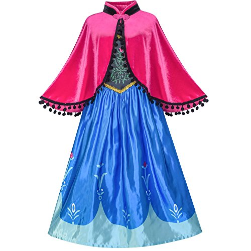Princess Dress Anna Costume Dress Up Cosplay Cloak Snowflake Size 10 ()