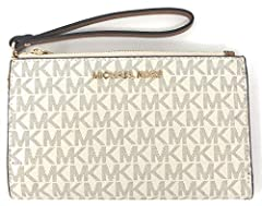 Michael Kors Jet Set Travel Double Zip Wristlet is the perfect wallet, wristlet and smart phone holder all in one! It is crafted in beautiful monogram printed PVC and finished with polished hardware and Michael Kors iconic logo. This top zip ...