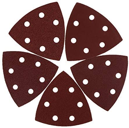 30 pieces 3.5 inch hook and loop sanding disc pads 60 80 100 120 240 Assorted grains 6 hole triangular sandpaper