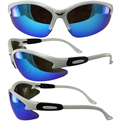 White Frame Cougar Safety Glasses G-Tech Blue Mirrored Lenses Meets ANSI Z87.1 Standards for Safety Eyewear