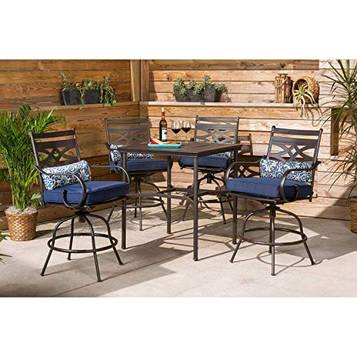 Hanover MCLRDN5PCBR-NVY Montclair 5-Piece High-Dining Patio Set in Navy Blue Outdoor Furniture (Home Sets Patio Dining Depot)