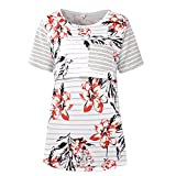 chulianyouhuo Women Maternity Nursing Tops Floral Stripe Short Sleeve Breastfeeding Shirt Clothes (Gray, M)