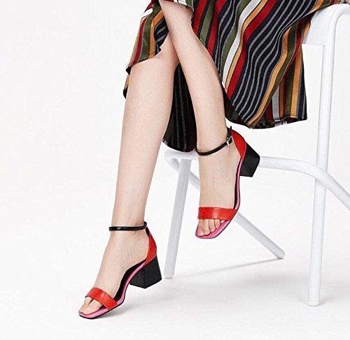 Mujeres Cómodos Las Verano Red Cómodas Nuevas Koyi Bombas Moda de del Zapatos Palabras Sandalias Gruesos de Talones q4Zxx1tB