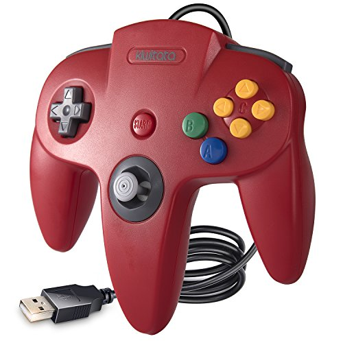 kiwitatá Classic N64 USB Controller Gamepad,N64 Bit Retro USB Wired Game Controller for Windows PC & Mac Retropi System Red