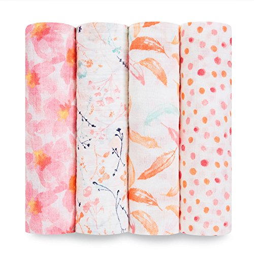 aden + anais Swaddle Baby Blanket, 100% Cotton Muslin, Large 47 X 47 inch, 4-Pack, Petal Blooms, Flowers