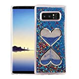 Galaxy Note 8 Case, QKKE [Hourglass Series] 3D Glitter Bling Hearts Flowing Liquid Star Clear Hard Case for Samsung Galaxy Note 8 (2017) (Hourglass/Blue)