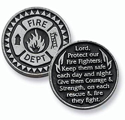 DOZEN (12) FIREFIGHTER - Pewter POCKET Tokens Fireman 1