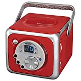 Jensen CD-555 Red Limited Edtion Portable Bluetooth Music System with CD Player +CD-R/RW