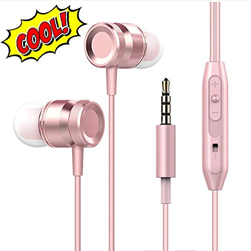 Lingoboi New Fashion Earphones Headphones In-Ear Earbuds Earphones, Metal Housing Best Wired Bass Stereo Headset Built-in Mic/Hands-free/Volume Control+3 Pair EarBuds (S/M/L) (Rose Gold)