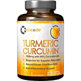 Decode Nutrition Turmeric Curcumin with Bioperine 1500mg. Highest Potency Available. Premium Pain Relief & Joint Support with 95% Standardized Curcuminoids. Non-GMO, Gluten Free Turmeric Capsules