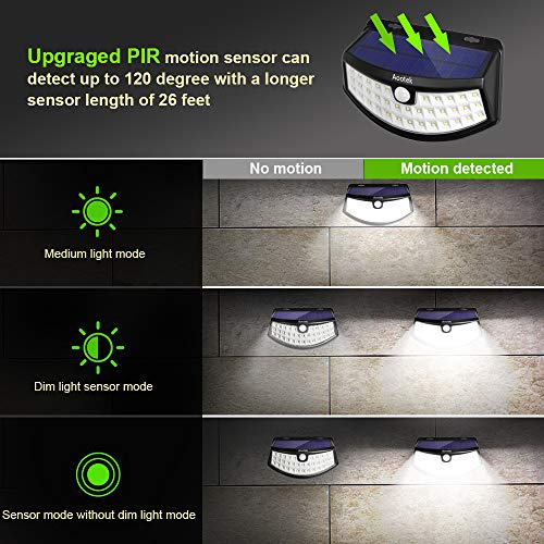 New Solar Lights(4Pack) Upgraded High Efficiency LEDs with 11.8 in² Solar Panel, 3 Optional Modes Sensitive PIR Motion Sensor Light with Wide Angle, IP65 Waterproof Solar Outdoor Security Wall Lights by Aootek (Image #3)