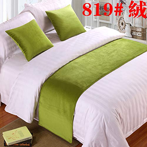 Bed Runner Bed Scarf Hotel Bedding Cloth high-Grade Bed Tails Bed Flag Bed Tail mat Bed Tail Strip Decorative Strips, Light Gray Mustard Green Cashmere, 2m Bed (50x260cm)
