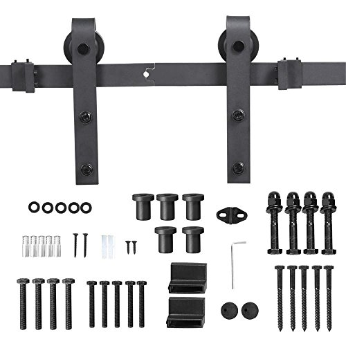 Yaheetech 8Ft Sliding Barn Door Hardware Kit Set Heavy Duty Sturdy Single Barn Door Track Antique Style Closet System Black by Yaheetech (Image #5)