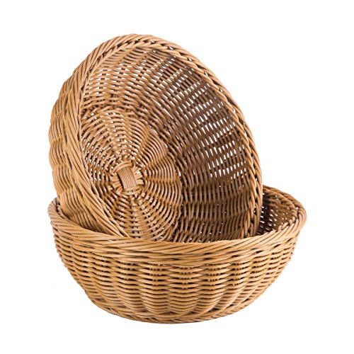 Weave Rattan Baskets - Woven Bread Basket Poly-Wicker Round Stackable Basket Tabletop Food Fruit Vegetables Serving Basket (Round,2pcs)