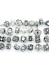 Ten Assorted Clear Crystal Rhinestone Bead Charms