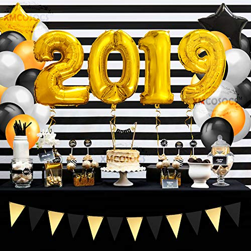 2019 New Years Eve Party Decoration Balloons Kit – Set of 60 Gold Black Helium Mylar Number Foil Balloons, Latex Balloons, Banner, Decor Supplies Gifts for Happy Birthday Christmas Wedding Graduation