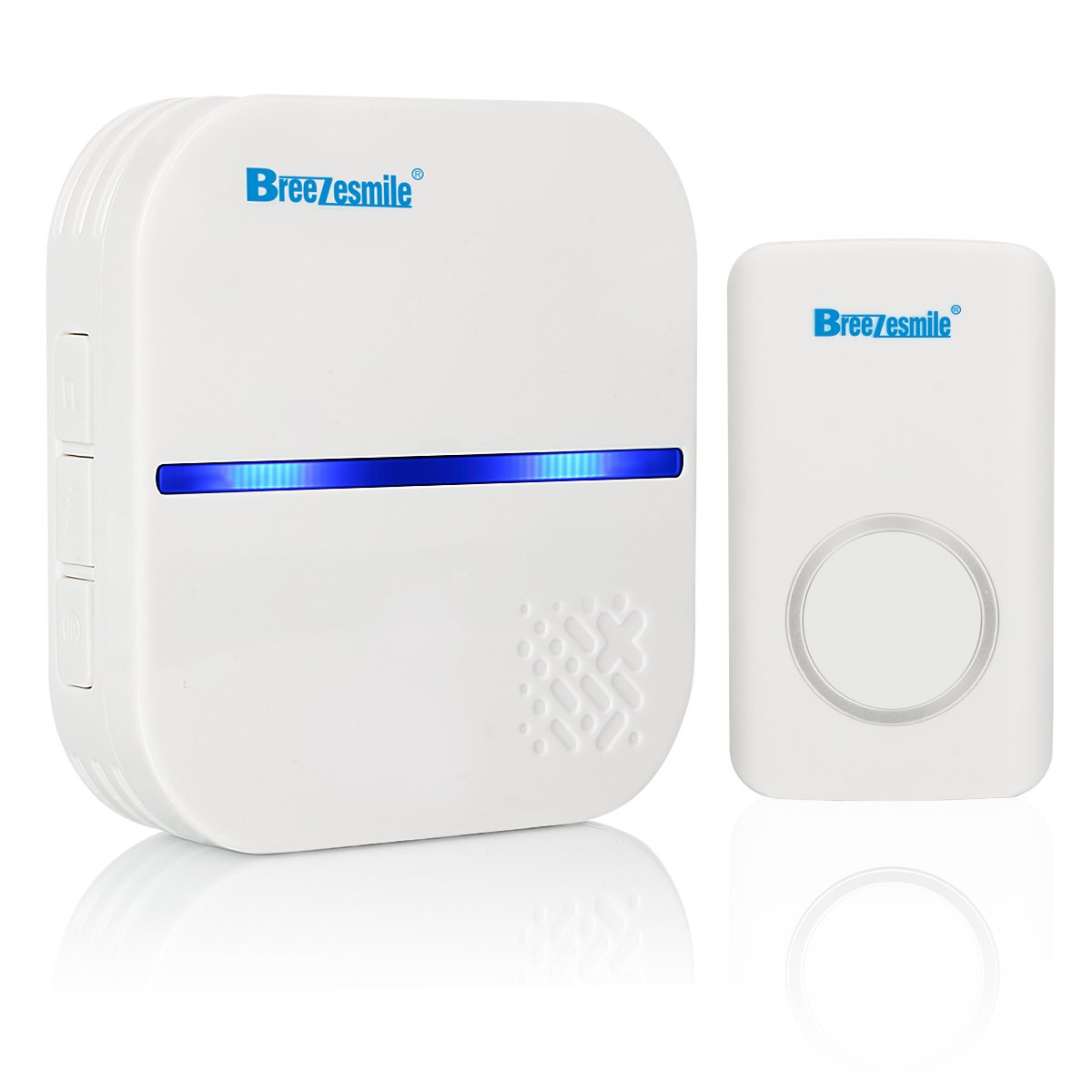 Wireless Doorbell Kit Breezesmile Self Powered Chimes kit with 1 Remote Button and 1 Plug in Receiver 58 Chimes 4 Volume Levels LED Indicator No Batteries Required for Remote Button and Receiver