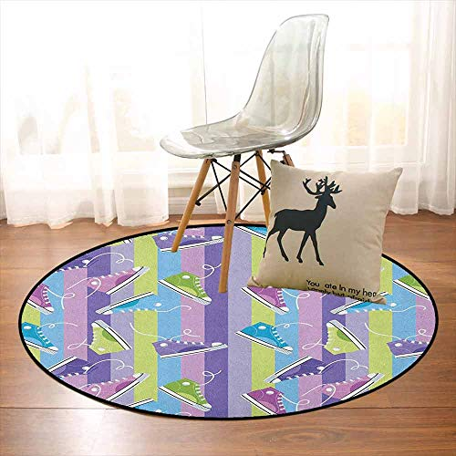 Retro Multifunctional Round Carpet Different Colored Sneakers on Vertically Striped Backdrop Youth Footwear Fashion for Bedroom Modern Home Decor D59 Inch Multicolor