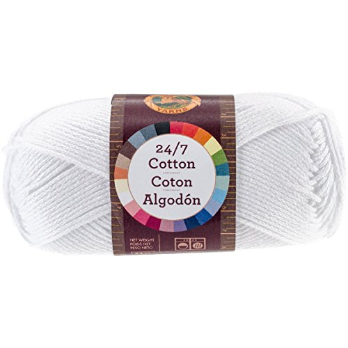 (Lion Brand Yarn 761-100 24-7 Cotton Yarn, White)
