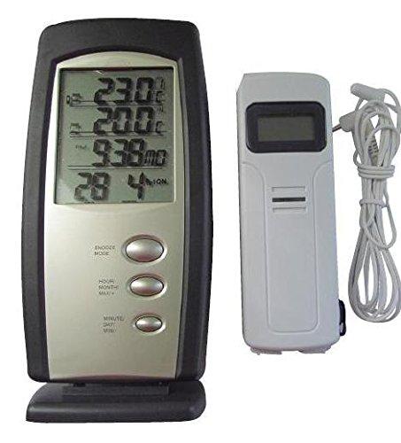 Termometro digital con sonda interior exterior - Sonda inalambrica y alarma, Completo - Termometros Digitales para interiores y exteriores: Amazon.es: ...