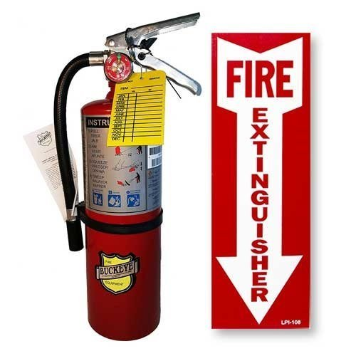 (Lot of 1) 5 Lb. Type ABC Dry Chemical Fire Extinguisher with 1 - Vehicle Bracket and 1 - Inspection Tag