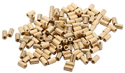 Yeeco 100PCs M2x5mm Female Brass Pillars Cylinder Standoff Spacers Standoff Screw Nut Spacer for Toy Car Model DIY