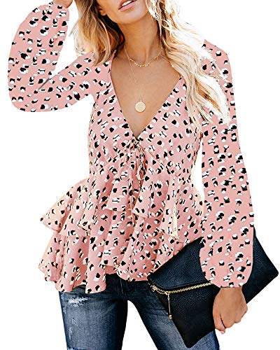 - Valphsio Womens Ruffle Print Blouse V Neck Long Puff Sleeve Peplum Crop Top