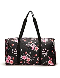 "Jadyn B 22"" Women's Weekender Duffel Bag with Shoe Pocket, Night Blossom"