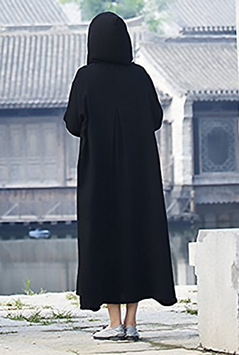 Mujer Suelto Comodo Vintage Algodón Etnica Larga Cabo Capucha Poncho Bolsillos Con Capucha Chaqueta Negro Con Outerwear Manga Elegante Capa Estilo Lino Capas Largos Con rrcSvq4