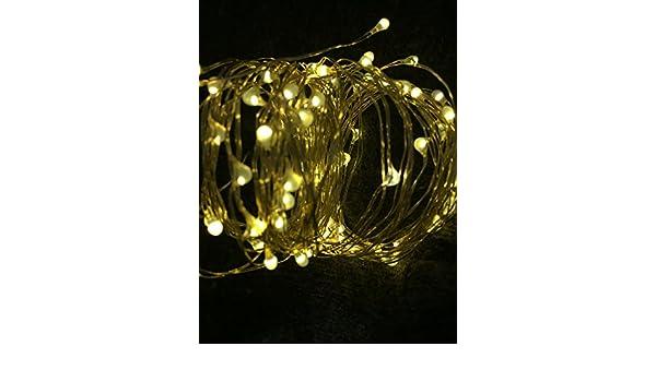 WARM WHITE : Solar powered 10 M/33ft 100led cobre estrellado Alambres Cadena de hadas luz de la luna de la vid lámpara Navidad boda decoración del ...