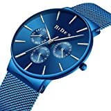 Mens Watch Deep Blue Ultra Thin Wrist Watches for Men Fashion Waterproof Dress Stainless Steel Band