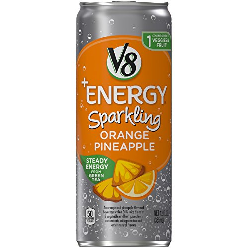 V8 +Energy, Sparkling Juice Drink with Green Tea, Orange Pineapple, 12 oz. Can (Pack of 12)