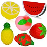 Dreampark Jumbo Squishies, Kawaii Jumbo Squishy Slow Rising Fruit Strawberry Peach Lemon Pineapples Watermelon Dragon Fruit Squishy Charms Cream Scented Stress Relief Toy [Pack of 6]