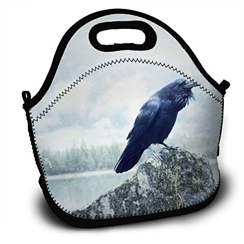 Dejup Lunch Bag Crow Lake Tote Reusable Insulated Lunchbox, Shoulder Strap with Zipper for Kids, Boys, Girls, Women and Men