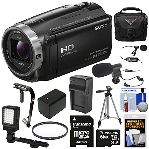 Sony Handycam HDR-CX675 32GB Wi-Fi HD Video Camera Camcorder with 64GB Card + Battery & Charger + Case + Tripod + Stabilizer + LED + Microphones + Kit by Sony