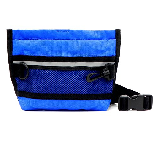 Wellbro Dog Treat Pouch, Pet Training Waist Bag with Easy Open-Close Spring Hinge and Front Mesh Pocket, Easily Carries Snacks and Toys, Rapid Reward for Small Medium Large Breeds, Blue