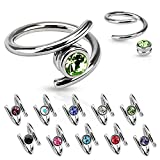 Dynamique Twirl with Single CZ 316L Surgical Steel Captive Bead Ring