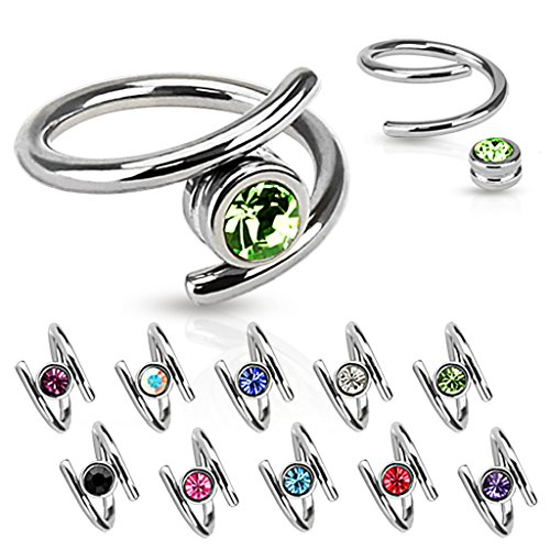 Put Captive Bead Ring (Dynamique Twirl with Single CZ 316L Surgical Steel Captive Bead Ring (14GA - Aurora Borealis))