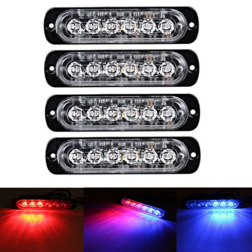 XT AUTO 6LED Car Truck Emergency Beacon Warning Hazard Flash Strobe Light Red/Blue - Strobe Blue