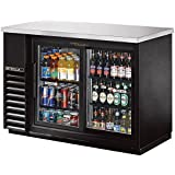 True Black 2-Sliding Glass Door Back Bar Cooler for 48 6-Packs