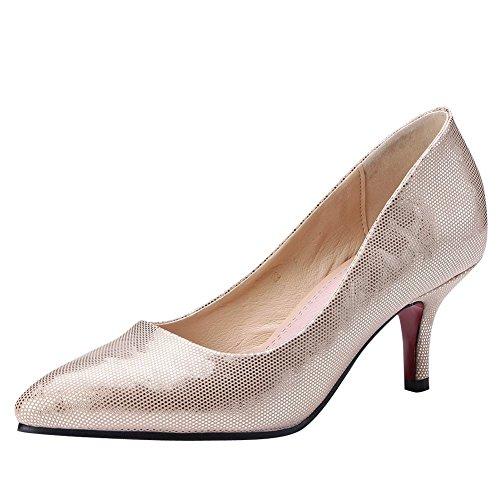 Charm Foot Womens Elegante Scarpe A Punta Tacco Alto Scarpe Da Donna Doro