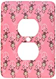 3dRose lsp_63466_6 Pink Peace Signs with Monkeys Adorable Cute Animals 2 Plug Outlet Cover