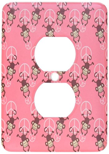 3dRose lsp_63466_6 Pink Peace Signs with Monkeys Adorable Cute Animals 2 Plug Outlet Cover by 3dRose