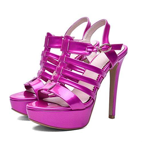 AgooLar Women's Buckle Spikes Stilettos Blend Materials Solid Open Toe Sandals Red QGzlVGgI